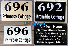 House Door Signs Plaque House Number Name Personalised Gold Silver Black Ali A5