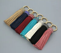 Handmade Leather Tassel Crystal Pendant Bag Purse Key Chain Handbag Keyring
