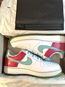 2007 Nike Air Force 1 '07 White Aqua Cerise Pink Metallic Gold Floral Size 9 DS