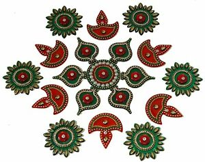 Red & Green Acrylic Rangoli 19Pcs With Beautiful Kundan Work For Home Decoration