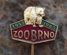 1963 Brno Zoo 10th Anniversary Brown Black Grizzly Bear Souvenier Pin Badge