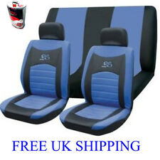 6pc Car seat covers set UNIVERSAL cover RS mesh racing style BLUE / BLACK GIFT