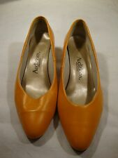 "Auditions Womens Orange Leather Pump Shoes 6 N 2"" Heel Point Toe Solid USA Lady"