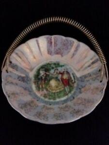 Vintage Pompadour Courting Couples Exquisite Porcelain Basket