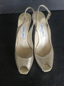Jimmy Choo Women's Gold Metallic Glitter Canvas Open Toe Heels Pumps Shoes 39.5