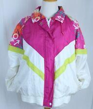 Lady Antigua Vtg Tracksuit Jacket Size Medium Streetwear Lined Nylon White Multi
