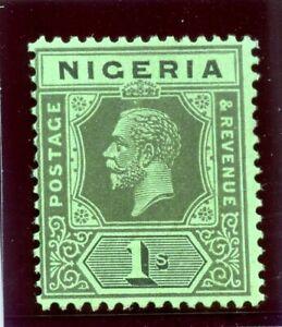 Nigeria 1924 KGV 1s black/emerald (Die II) MLH. SG 26. Sc 29.