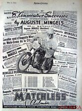 1951 Motor Cycle ADVERT - Matchless 498cc Clubman Moto Cross AD Auguste Mingels