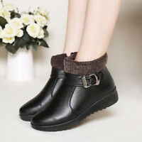 2018 Womens Ladies Ankle Snow Boots Winter Warm Leather Fur Lined Casual Shoes