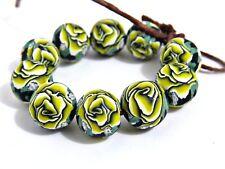 Rose beads, clay bead, round beads, yellow beads, yellow rose, flower beads