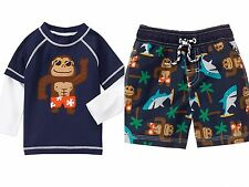 Gymboree Monkey Shark Long Sleeve Rashguard & Swim Trunks UPF 50+ Boys 3T