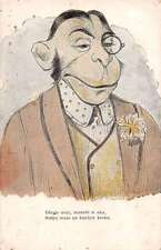 Dressed Monkey in Suit Antique Postcard J44599