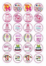 24 GIRLS 14TH BIRTHDAY  CUPCAKE  WAFER RICE EDIBLE FAIRY CAKE TOPPERS