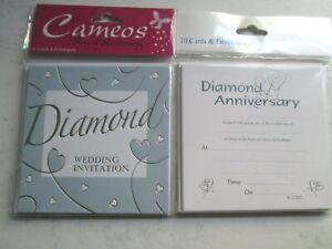 Diamond Wedding Anniversary Invitations - Embossed Silver - 2 Designs