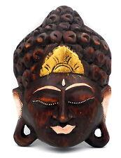 Masque Bouddha Bouddhisme déco zen en bois dorures or Tibet Népal 20 cm