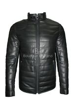 Men's Padded Leather Jacket Black 100 % Real Leather Jacket BIKER STYLE NV-89