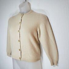 Ballantyne Scotland Womens Beige 100% Cashmere Gold Button Cardigan Sweater Sz S