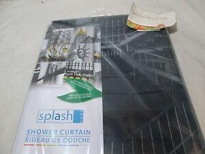 New Flash Home NEW YORK PEVA Vinyl Shower Curtain  70X72 ~ Yellow, Black, Grey