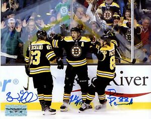 Patrice Bergeron Brad Marchand David Pastrnak Boston Bruins signed 16x20
