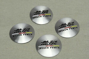 JDM 4Pcs Mugen Power Aluminum Alloy Car Wheel Center Hub Caps Stickers Emblems