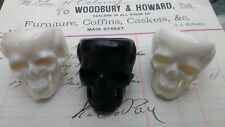 Chunky Human Skull Mortality Ring : Memento mori : black hand carved bone (Bos)