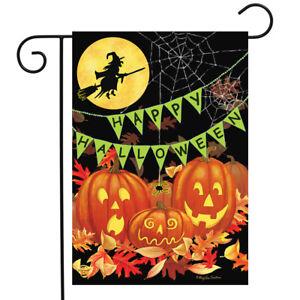"Halloween Haunts Garden Flag Witch Jack-o-Lantern 12.5"" x 18"" Briarwood Lane"