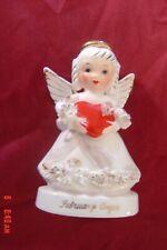 Vintage Napco February Angel Valentine Holds Red Heart Spaghetti Trim A1362