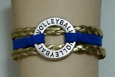 "VOLLEYBALL LEATHER CHARM BRACELET-SPORTS-CIRCLE-6 1/2""-8 1/2""- BLUE & GOLD -#255"