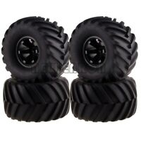 BLACK Monster Truck 6 Spoke Wheel Rim & Tire For RC 1/10 Traxxas REDCAT HSP HPI