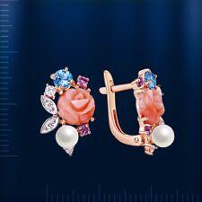 Russische Rose Gold 585 Ohrringe mit Koralle, Perle und Edelstein Tolle Ohrringe