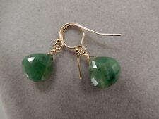 Jade Green Pear Shape 14K Solid Gold Dangle Earrings Handmade NEW