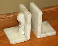 Carved Stone bookends white marble alabaster face lady woman vintage book ends