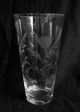 Vintage ultra thin cut clear glass vase 10 inches