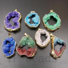 Natural Druzy Drusy Quartz Agate Gold Sliced Irregular Pendant Beads Necklace
