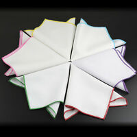 Men Bright Color Rolled Edge White Handkerchief Cotton Blend Pocket Square Hanky