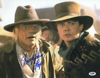 MICHAEL J FOX CHRISTOPHER LLOYD SIGNED BACK TO THE FUTURE 11X14 PHOTO PSA LOA E