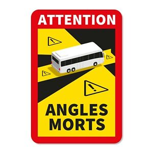5 X Bus Coach Autocollants Stickers Danger Angles Morts Blind Angle - UV6090