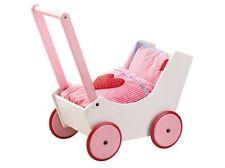 Holz-Puppenwagen HABA Lauflernwagen m. Bettgarnitur mit Herzen rosa weiß 0950