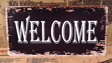 WELCOME VINTAGE TIN SIGN TIN PLAQUE METAL LICENSE PLATE HOME PUB BAR CAFE DECOR