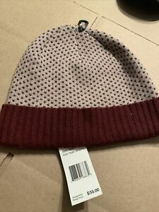 Bloomingdales Wool/cashmere Taupe/burgundy Skull Cap New With Tags