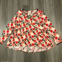 Matilda Jane Womens Large Beige Floral Blouse Top Rayon NWT