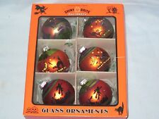 Christopher Radko Shiny Brite Flocked Glass Halloween Ornaments Tree NEW Set 6