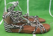 NEW LADIES Summer Black/WHITE VINTAGE LOOK Womens Shoes Sexy Sandals Size 9