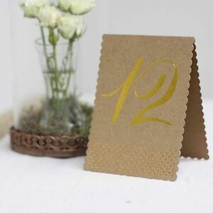 Rustic Glamour Table Numbers – Brown Kraft With Gold Foil Polka Dots (Set of 12)