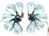 SoHo® Ohrclips vintage bohemia Glas handgemachte Glassteine 60er Jahre hellblau
