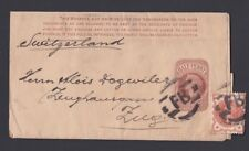 UK 1891 UPRATED PS WRAPPER LONDON FOREIGN BRANCH FB TO ZUG SWITZERLAND