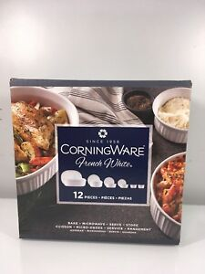 Corningware French White 12-Piece Round and Oval Bakeware Serving Set