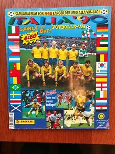 Swedish Panini World Cup Italia 90 album w/different cover 1990 poster program!