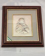 Quadro in radica  immagine in argento 925 Madonna con il Bambino  cm. 48,5x54,5