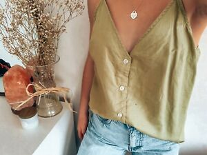 Nude Lucy Green Linen Tank Top - Size M. Condition Is Pre-Owned.